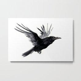 Raven, Flying Raven, Tribal Raven, Crow art black and white Metal Print