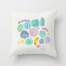 A Serene Succulent Underwater World Throw Pillow