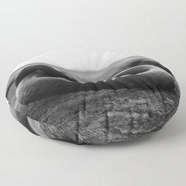 Mooring ring on old dock Floor Pillow
