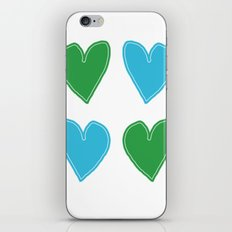 Blue and Green Hearts - 4 hearts iPhone & iPod Skin