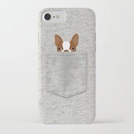 Pocket Boston Terrier - Red iPhone Case