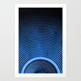 Blue music speaker and sound waves Art Print