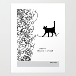 "Friedrich Nietzsche ""You need chaos in your soul"" black cat literary quote Art Print"