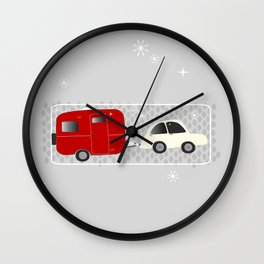 vintage trailer in red Wall Clock