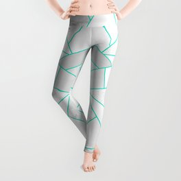 White Stone with Turquoise Lines Leggings