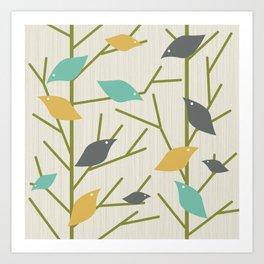 Mid Century Modern Birdsong Art Print