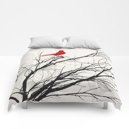 Red Bird on a Branch A533 Comforters