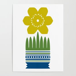 Nordic Yellow Flower Poster