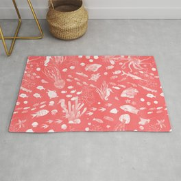 Watercolor Seascape in Red Rug