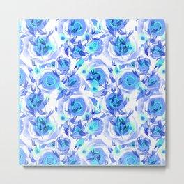 Blue and light blue floral background . Metal Print