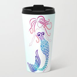 Tribal Mermaid with Ombre Turquoise Background Travel Mug