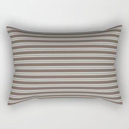 BM Mustang Brown & Color of the Year 2019 Metropolitan Light Gray Double Bold Horizontal Stripes Rectangular Pillow