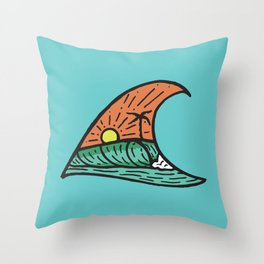 Wave in a Wave - Teal Throw Pillow
