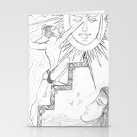 sun and moon Stationery Cards featuring SUN & MOON by MTHARU