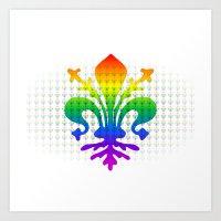 fleur de lis Art Prints featuring Rainbow Fleur-de-Lis by Cool Prints