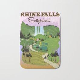 Rhine Falls Switzerland vintage style travel poster. Bath Mat