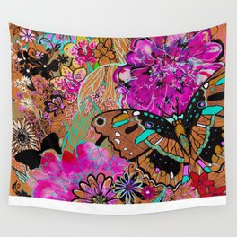 Neon Butterflies Wall Tapestry