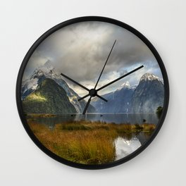 Mitre Peak, Milford Sound, New Zealand Wall Clock