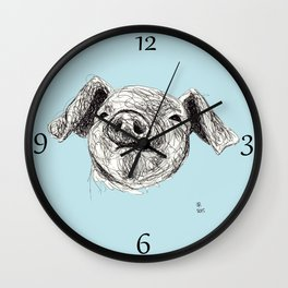 Baby Animals - Pig (Blue) Wall Clock