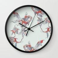 huebucket Wall Clocks featuring Floating in Deep by Huebucket
