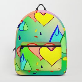 Cheerful drops and heart. The background color or pattern of drops and hearts on iridescent backgrou Backpack