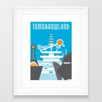 travel poster Framed Art Prints featuring Tomorrowland Travel Poster by Rob Yeo Design