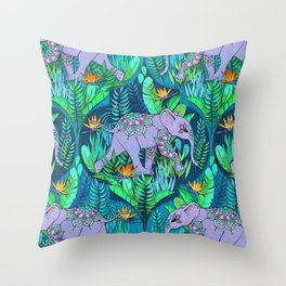 Little Elephant on a Jungle Adventure Throw Pillow