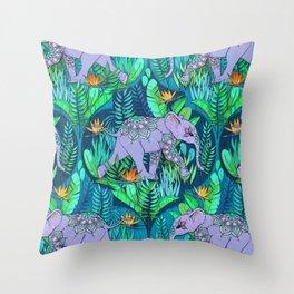 Little Elephant on a Jungle Adventure Throw Pillow