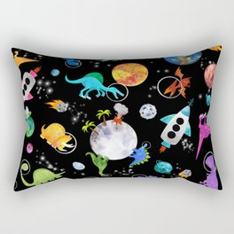 Dinosaur Astronauts In Outer Space Rectangular Pillow