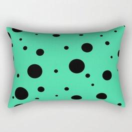 Black Bubbles On Green Rectangular Pillow