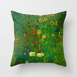 Sunflowers, Anemone, Red Poppy Flowers Farm Garden by Gustav Klimt Throw Pillow