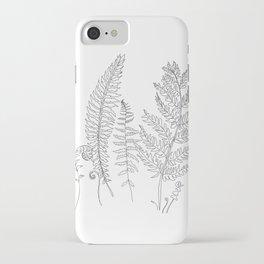 Minimal Line Art Fern Leaves iPhone Case
