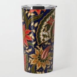 Indonesian Batik Floral Pattern With Fans Travel Mug