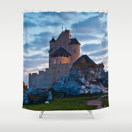 Medieval castle in Bobolice, Poland Shower Curtain