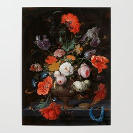 """Abraham Mignon """"Still Life with Flowers and a Watch"""" Poster"""