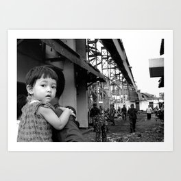 Yogyakarta, INDONESIA - FEBRUARY 19: number of buildings and infrastructure ravaged by a tornado in  Art Print