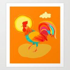 Orange Rooster Art Print