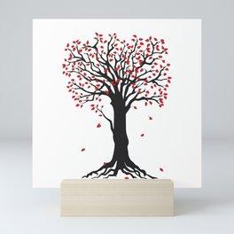 black tree with red leaves Mini Art Print