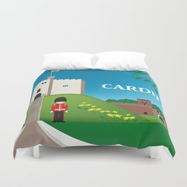 Cardiff, Wales - Skyline Illustration by Loose Petals Duvet Cover