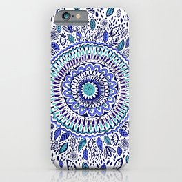 Indigo Flowered Mandala iPhone Case
