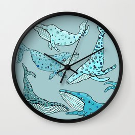 Blue Whales Wall Clock