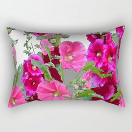 PINK- PURPLE COTTAGE  HOLLYHOCKS WHITE & GREY GARDEN Rectangular Pillow