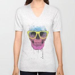 Pop art skull with glasses Unisex V-Neck