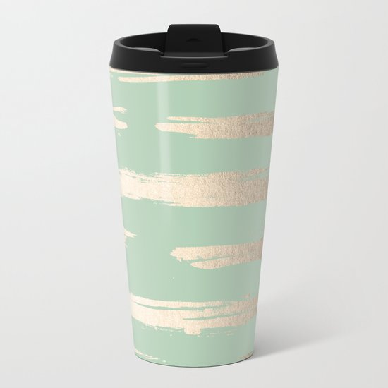 Simply Brushed Stripe White Gold Sands on Pastel Cactus Green Metal Travel Mug