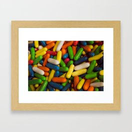 Confection of multiple colors. Candied birthday candies Framed Art Print