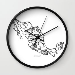 Mexico Map Black Outline Wall Clock
