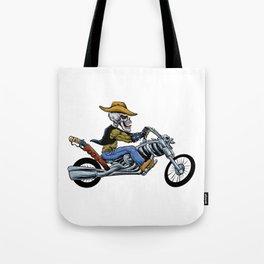 skull ride a big motorcycle Tote Bag