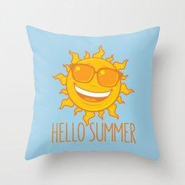Hello Summer Sun With Sunglasses Throw Pillow