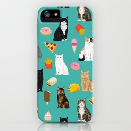 Cat breeds junk foods ice cream pizza tacos donuts purritos feline fans gifts iPhone Case