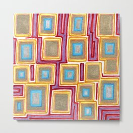 Crimson Gold and Squares Metal Print